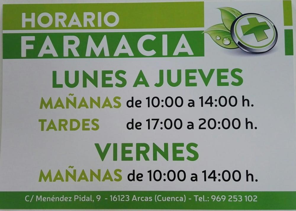 Horario invierno Farmacia de Arcas.