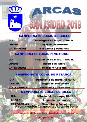 Cartel juegos populares y ping pong de las Fiestas de San Isidro 2019 en Arcas.
