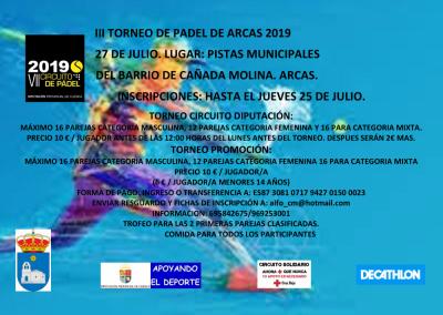III Torneo de Padel de Arcas. Circuito de Diputación.