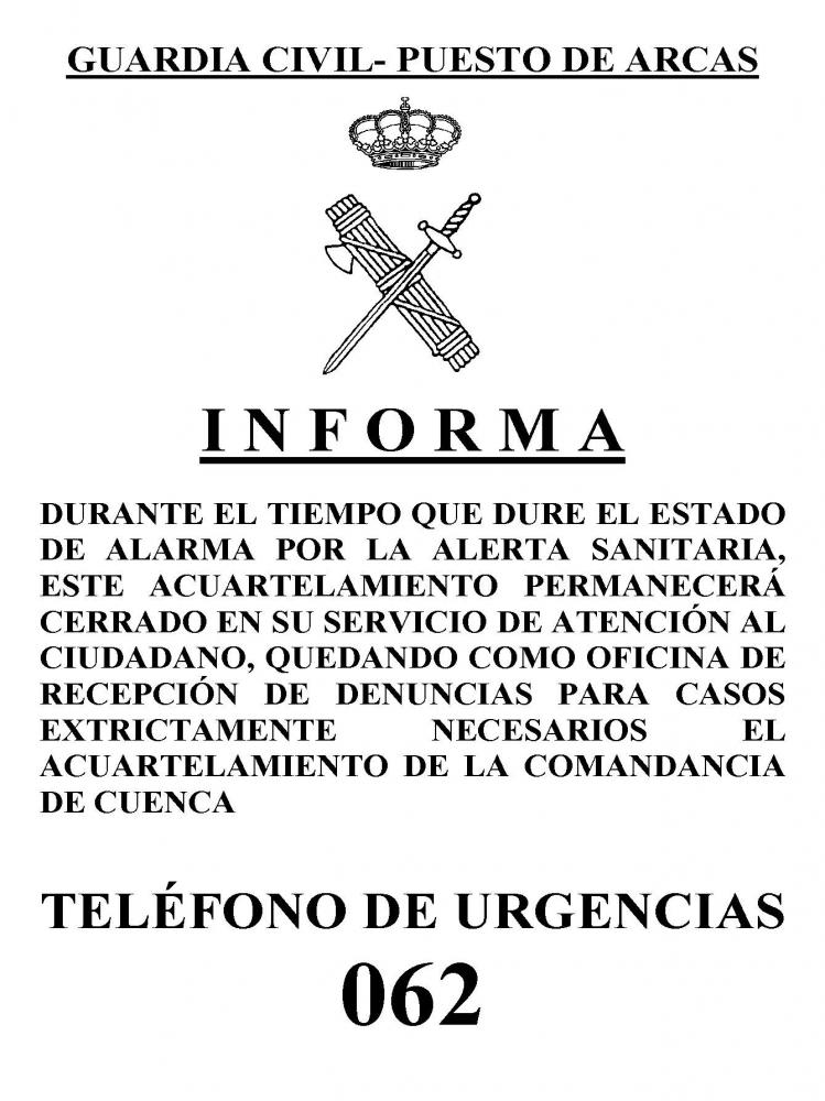 La Guardia Civil del puesto de Arcas infirma: