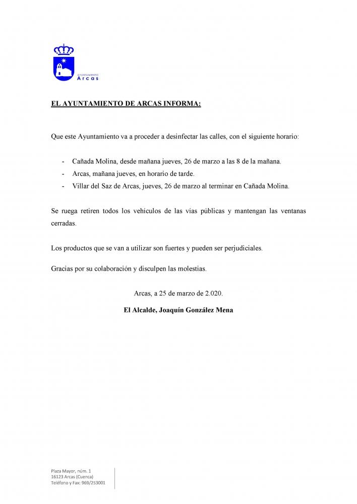 Bando de la Alcald�a, Desinfecci�n de las calles de la localidad por el Covid19.
