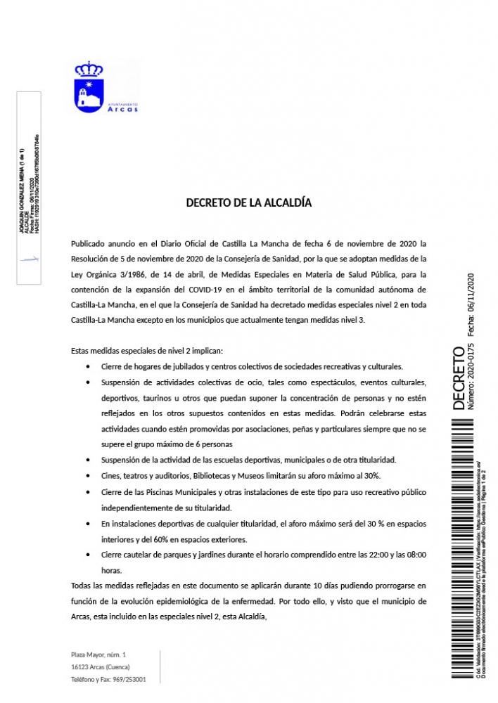 Decreto de la Alcald�a sobre las medidas adoptadas por la situaci�n sanitaria