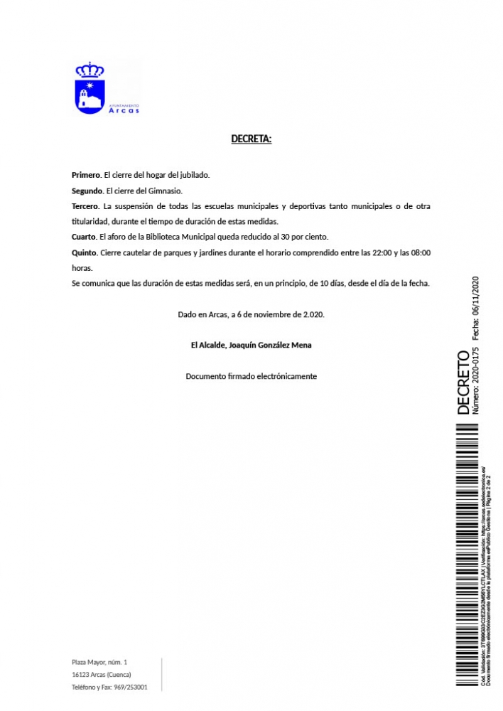 Decreto de la Alcaldía sobre las medidas adoptadas por la situación sanitaria