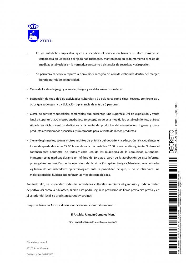 Decreto de la Alcald�a. Medidas restrictivas Covi19