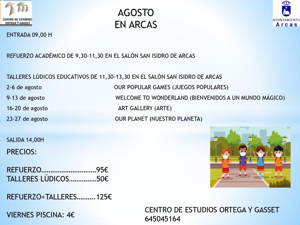 CLASES DE REUFERZO ACAD�MICO Y TALLERES L�DICOS EDUCATIVOS, EN EL MES DE AGOSTO EN ARCAS