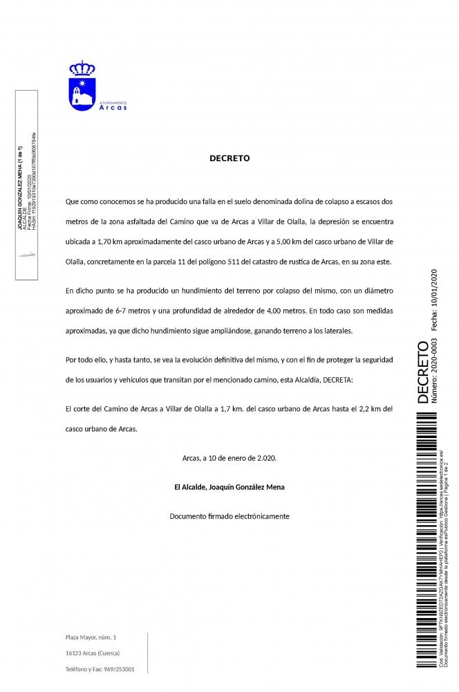 Decreto. Corte del camino de Arcas a Villar de Olaya