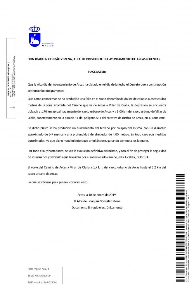 Bando. Corte del camino de Arcas a Villar de Olaya