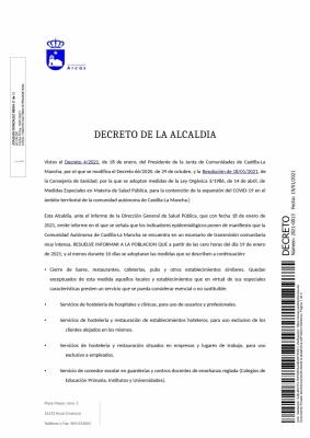 Decreto de la Alcaldía. Medidas restrictivas Covi19