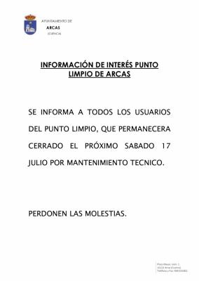 CIERRE DEL PUNTO LIMPIO DÍA 17 DE JULIO.